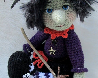 Crochet Pattern Witch by Teri Crews Wool and Whims Instant Download PDF format Crochet Toy Pattern