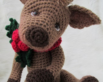 Crochet Pattern Cute Reindeer by Teri Crews Wool and Whims Instant Download PDF Format
