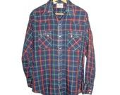 Dee Cee Brand Western Cowboy Plaid Shirt Pearl Snaps M Medium 15-34