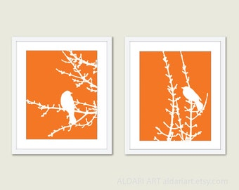 Birds and Branches Art Print Set Duo - Tangerine Orange - Modern Wall Art - Woodland -  Spring Summer Home Bird on Twig Decor