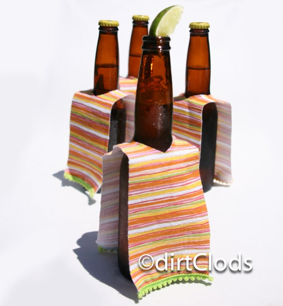 Beer Cozies set of four, Mexican Serape Beer Huggers in yellow and green, Beer Bar Accessory, Wedding Favors