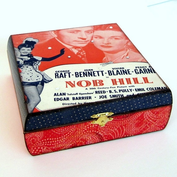 Jewelry Box Decoupaged Sheet Music Decorated Box Keepsake Box Classic Movie 1940s Musical Old Movie Decor Classic Film Student Gift Red Blue