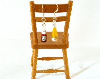 Ketchup and Mustard Bottle Earrings, Mismatched Earrings