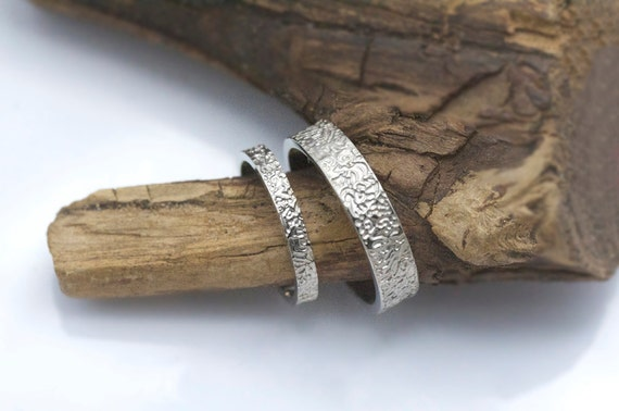 Matching wedding ring sets - textured wedding bands - 14k white gold