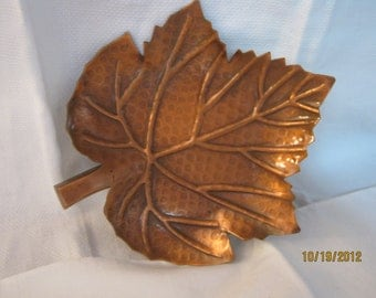 Mid Century Copper Metal Leaf Dish By Gatormom13 JUST REDUCED