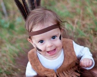 Indian headband,pocahontas, peterpan headband,Indian headress, feather headband, indian costume,,brown headband,any size,photo prop