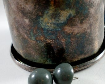 Stormy gray button earrings