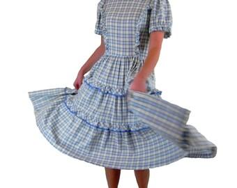 Dress Tiered Ruffle Dancing  Rockabilly Dress  Vintage 1950s  H Bar C California Ranchwear Size Small Medium