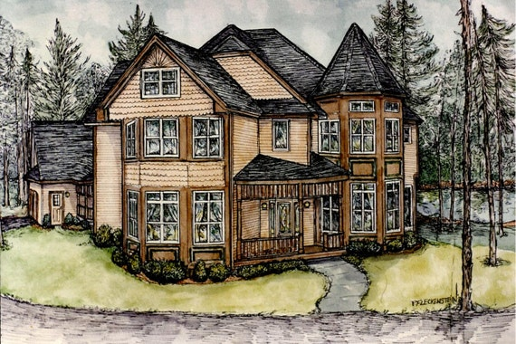 House Portrait,Original Watercolor of Your Home from  photos,by Patty Fleckenstein
