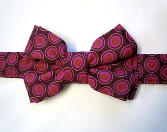 Ovals Plum and Gold Bow Tie for Dog or Cat - Any Size