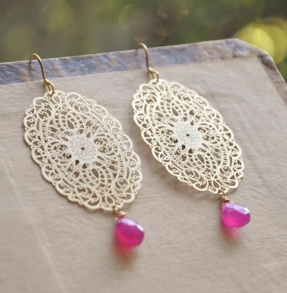 Gold Statement Earrings - Long Dangle Earrings, Hot Pink Earrings, Gemstone Earrings, Dressy Earrings, Earrings for Prom, Filigree Earrings
