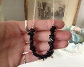 Semiprecious Black Jasper Beaded 'Rock Candy' Style Necklace with Silver Plated Metal Chain - Earthy - great gift - classic and simple