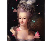 Marie Antoinette Home Decor - 8x10 Art Reproduction Print, Upcycled, Repurposed Art - Triangles, Geometric, 80s, Neon, Pastel, Portrait