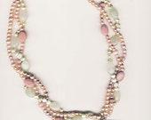 Lush Imperial Jasper, Freshwater Pearls, Rhodenite and Prehnite