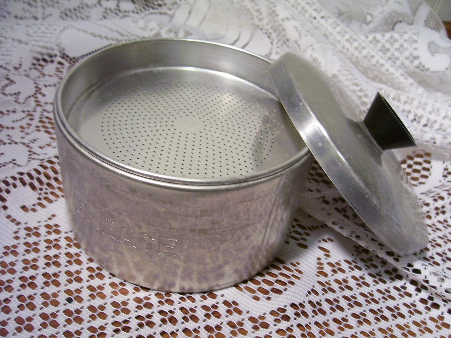 Vintage Aluminum Grease Jar With Strainer