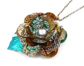 Starbucks Rose and Leaf Necklace. TRENDY 30 inch Pendant. Recycled Soda Can Art
