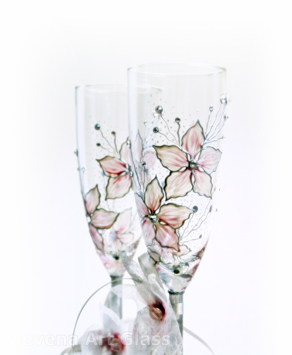 Hand Painted Champagne Flutes Wedding Glasses Old Pink Pearl