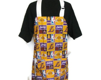 Lakers Grilling Apron, Barbeque Apron, Aprons for Men or Women, Father's Day apron, basketball apron, full kitchen apron, gifts for dad