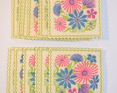 Vintage Groovy Monogram Coasters Set of 16 Bright Neon Floral Flower Retro Paper