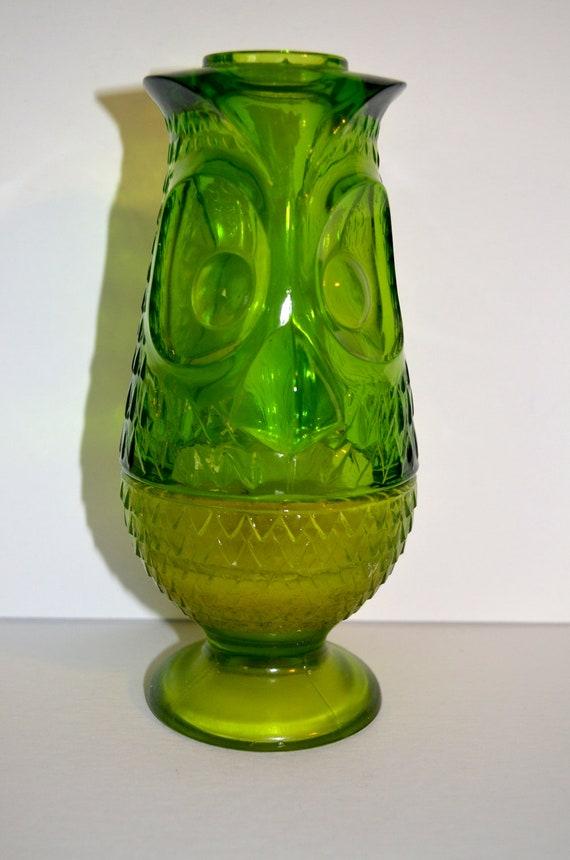 Vintage Mid Century Viking Glass Owl Fairy Lamp Candle Holder