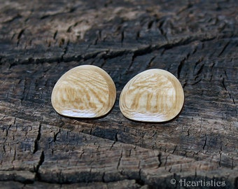 Figured Sycamore Beveled Face Posts with Walnut and Cherry Side Bands - Eco Fashion Jewelry