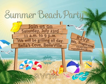 beach party invitation, Party invitations