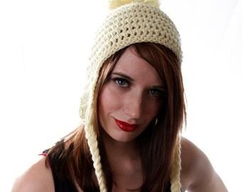 Cream Earflap Hat, Pom Pom Earflap hat, Ear Flap Hat, Pom Pom Beanie, Off White Hat, Cream Colored Hat, Earflap Winter Hat