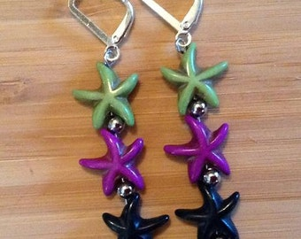 Starfish Earrings - Green, Purple and Black