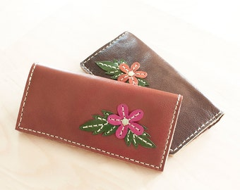 SALE, Hand Sewn Leather Wallet with Flower in Red Brown