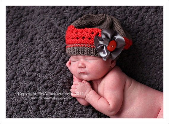 Newborn Knit Hat, Knitted Baby Beret with Oversized Bow and Button, You Pick the Colors to Customize Your Order