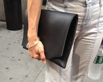 Times Clutch / Leather Clutch / Portfolio / Leather iPad Case / Leather Laptop Bag / Black Clutch / iPad / Folio / Gift / Black Leather Case