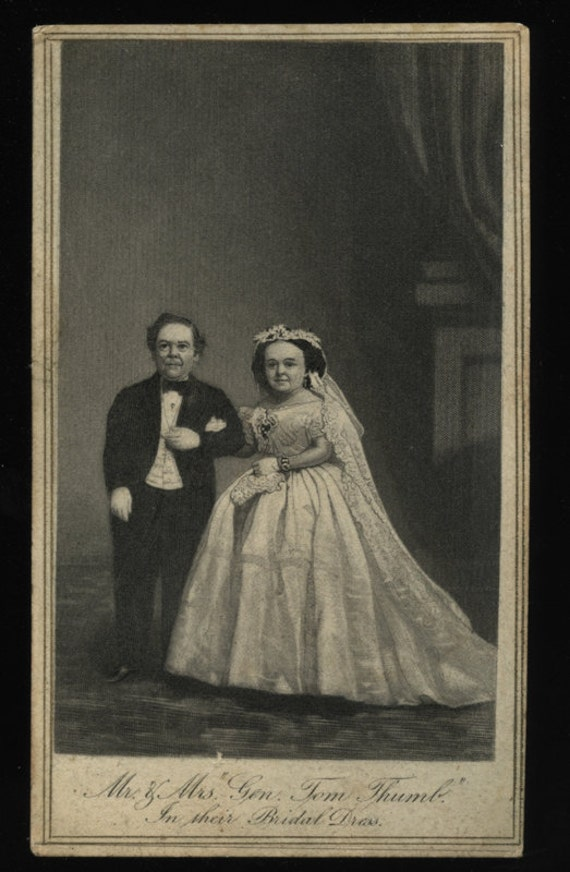 CDV of Victorian Sideshow Little People / The Wedding of Tom Thumb and Wife