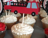 Firefighter Cupcake Toppers, Firetruck Cupcake Toppers, Dalmatian Dog Cupcake Toppers - 12 - firetruck collection