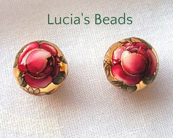 Pair of Beautiful Japanese Tensha Beads Ruby Rose on Gold 12 MM