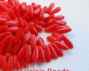 NEW GORGEOUS Czech Glass Dagger Beads in Red Coral (25) 3 x 10 MM