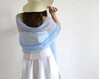 Linen Scarf Light Blue Shawl Wedding Scarf Bridesmaid Stole Pastel Blue Scarves Lace Shawl Gauzy Scarf Beach Wedding Scarf Boho Scarf