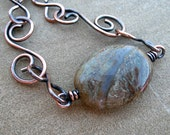 Copper Bracelet Wire Wrapped Agate Handcrafted Chain