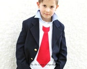 Boy's Red Tie Short Sleeve T-Shirt. Independence Day Red Chevron. Baby Boy Clothing Birthday Outfit Photo Prop. 4th of July