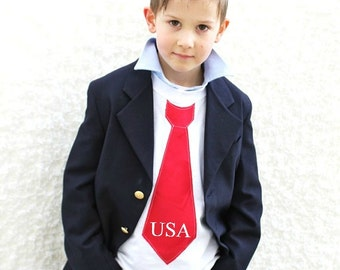 4th of July USA Personalized Patriotic Red Tie Tee T-Shirt.  Red White Blue. Summer Stars & Stripes, Tie Shirt.  Boys, Toddler, and Baby.