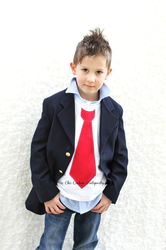 Christmas Holiday Boy's Red Tie Short Sleeve T-Shirt. Baby Boy Clothing Birthday Outfit. Thanksgiving Outfit Family Pictures Photo Prop