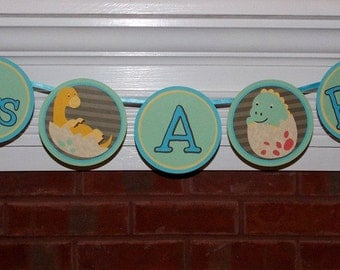 Dinosaur Banner  It's A Boy Baby Shower Yellow Blue Green Brown Dinomite