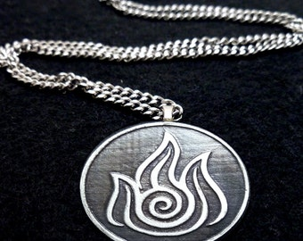 Sterling Silver Avatar Fire Bender Necklace