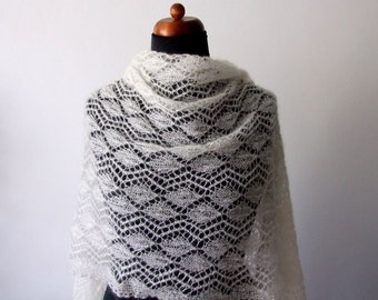 knitted lace bridal shawl, silk mohair wrap, luxury wedding stole, custom colors, made to order