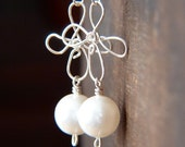 Swarovski Pearl Silver Filled Wire Wrapped Earrings - Wire Wrap Jewelry
