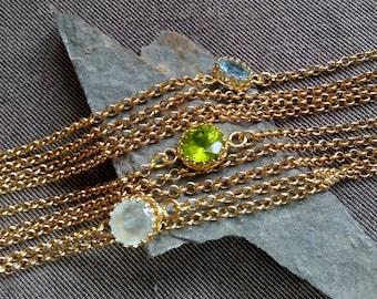 Gemstone Bracelet, Peridot Bracelet, Birthstone Bracelet, August Birthstone, Blue Topaz Bracelet ,Multi Strand Barecelet, Peridot Jewelry