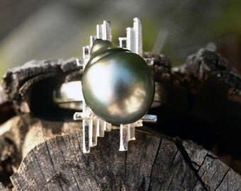 Secret Wonders Shodaqoh Ring, South Sea Pearl Ring, Tahitian Pearl Ring, Engagement Ring, Sterling Silver