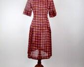 Vintage 1980's Dress - Maroon with Purple & Peach Floral Print Drop-Waist Dress - Medium