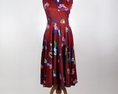 Vintage 1970's Dress - Maroon w/ Multicolor Floral Pattern Dress - Small
