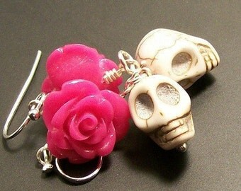 Hot Pink Rose and White Sugar Skulls earrings