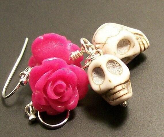 Hot Pink Rose and White Sugar Skulls earrings